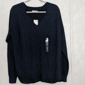 Sonoma V-Neck Light Cable Knit Royal Blue Sweater